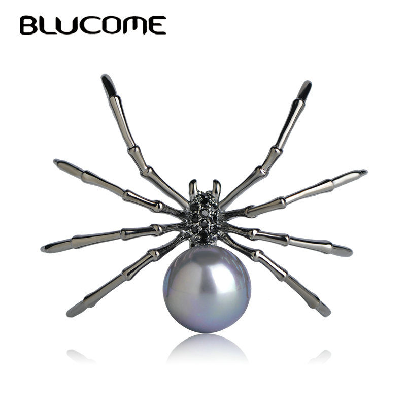 Blucome Fashion Insects Brooches Copper Gun Black Color Simulated Pearl Spider Brooch Women Kids Coat Suit Clothes Accessories