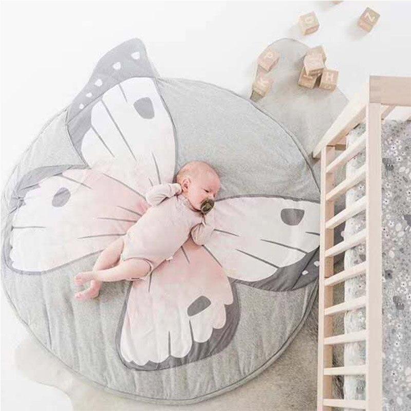 Tapis de jeu bébé en coton doux tapis de jeu rond tapis de dessin animé papillon tapis enfants tapis pour enfants à la décoration de la chambre de bébé