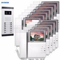 DIYSECUR 4.3 HD Monitor Apartment Video Door Phone Video Intercom Doorbell 700 TVLine IR Camera Touch Key for 12 Families
