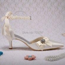 ( 30 цветов ) оптовая продажа принцесса обувь с жемчугом острым носом низком каблуке атласные слоновой кости свадебные туфли