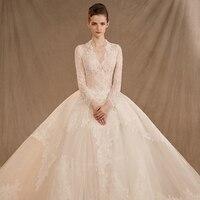 Luxury Wedding Dress 2019 Crystal Lace Bridal Gown Elegent Formal Dress Pearls Button Bridal Dress Vestido De Noiva