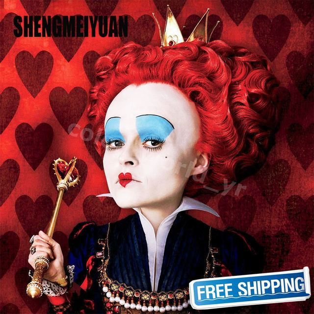 SHENGMEIYUAN Alice in Wonderland Red Queen Wig Women Girl's Short Curly Red Color Movie Cosplay Wig Costume Party Wig