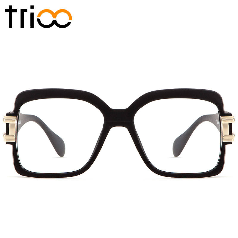 trioo mens cool myopia glasses frame designer clear lens spectacle eyewear frames black square thick eyeglasses