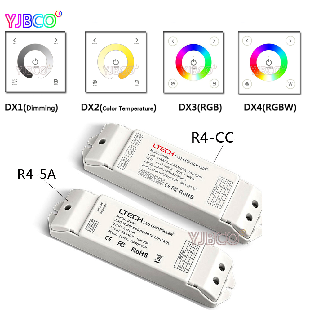 AC110V-240V 2.4G DX1/DX2/DX3/DX4 Wireless CT RGBW touch panel wall mounted LED dimmer control DMX512 LED strip lamps