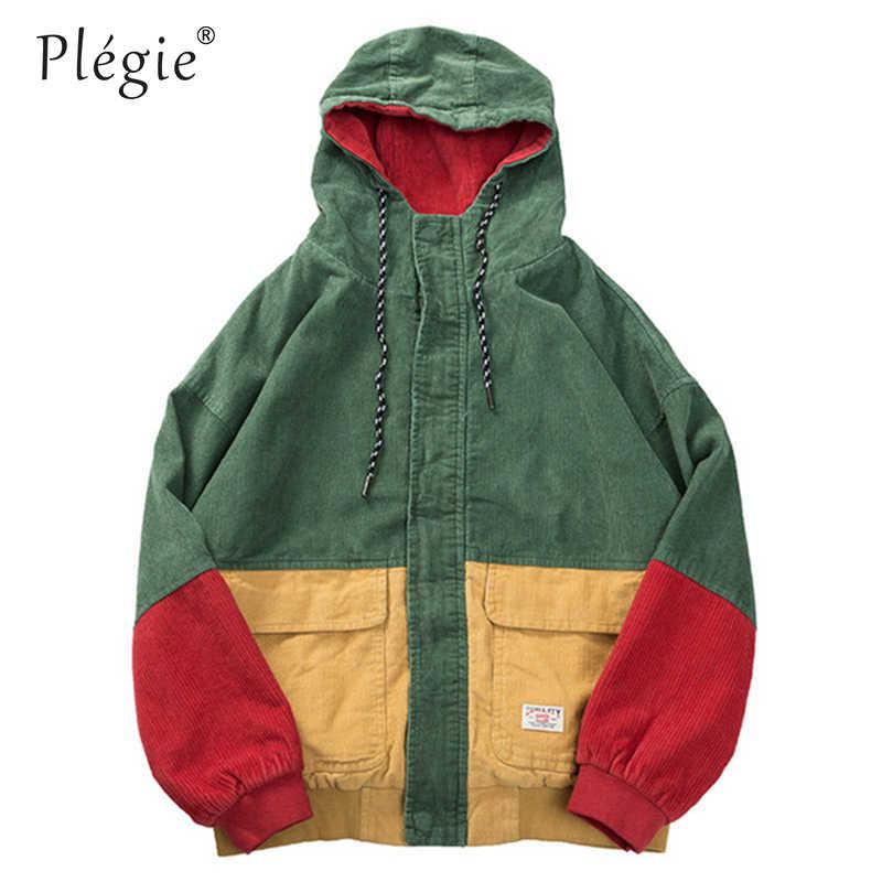 Plegie Cord Mit Kapuze Patchwork Paar der Jacke Bomber Block Hoodies 2019 Frühling Herbst Casual Streetwear Jacken Dropshipping
