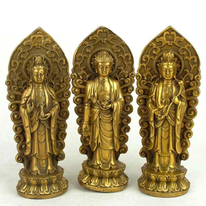 Pure copper, the three saints of the west, buddha statue, Amitabha, Guanyin , Mahasthamaprapta Bodhisattva, 3 style optional~