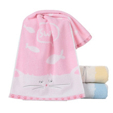 34x75cm 100% Cotton Cartoon Cat Fish Animal Pattern Towel Absorbent  Washcloth Bathroom Childrens Hand