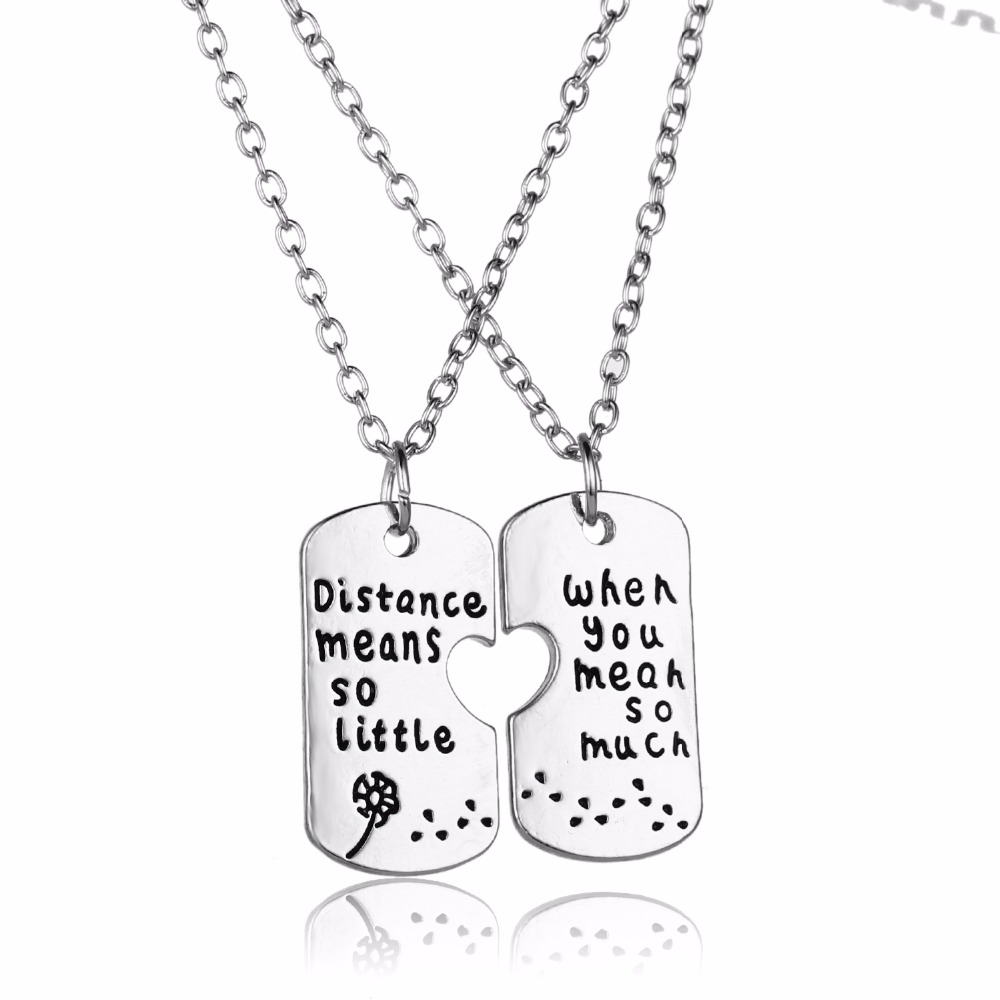 2PC Long Distance Relationship Necklace Dandelion Jewelry Distance Means So Little When You Mean So Much Necklace His& Her Gifts(China)