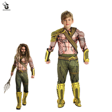Aquaman Costumes Kids Muscle Halloween Costumes for Kids Boys Superhero Costumes Arthur Curry Cosplay Party Dress up Jumpsuits