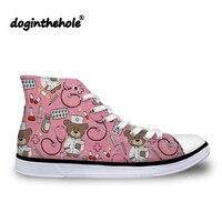 doginthehole Vulcanized Shoes Women High Top Canvas Shoes for Girls Cartoon Bear Nurse Printing Flats Teenagers Cute Sneakers