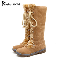 Women Knee Boots Long Boot Warm Shoes Winter Autum Flat Botas Mujer Snow Boots Fur Fashion Round Toe Shoes Boots