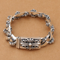 Wholesale S925 Sterling Silver Jewelry Retro Thai Silver Craft Personality Men Trend New Silver Bracelet Style