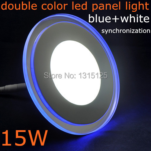 15W Round LED Panel Light Acrylic Wall Ceiling Downlight Cool White With Blue Light bulb lamp Border For Home + Free shipping free shipping 15w led ceiling lamp lantern indoor lamp led spotlight cool warm white 85 265v