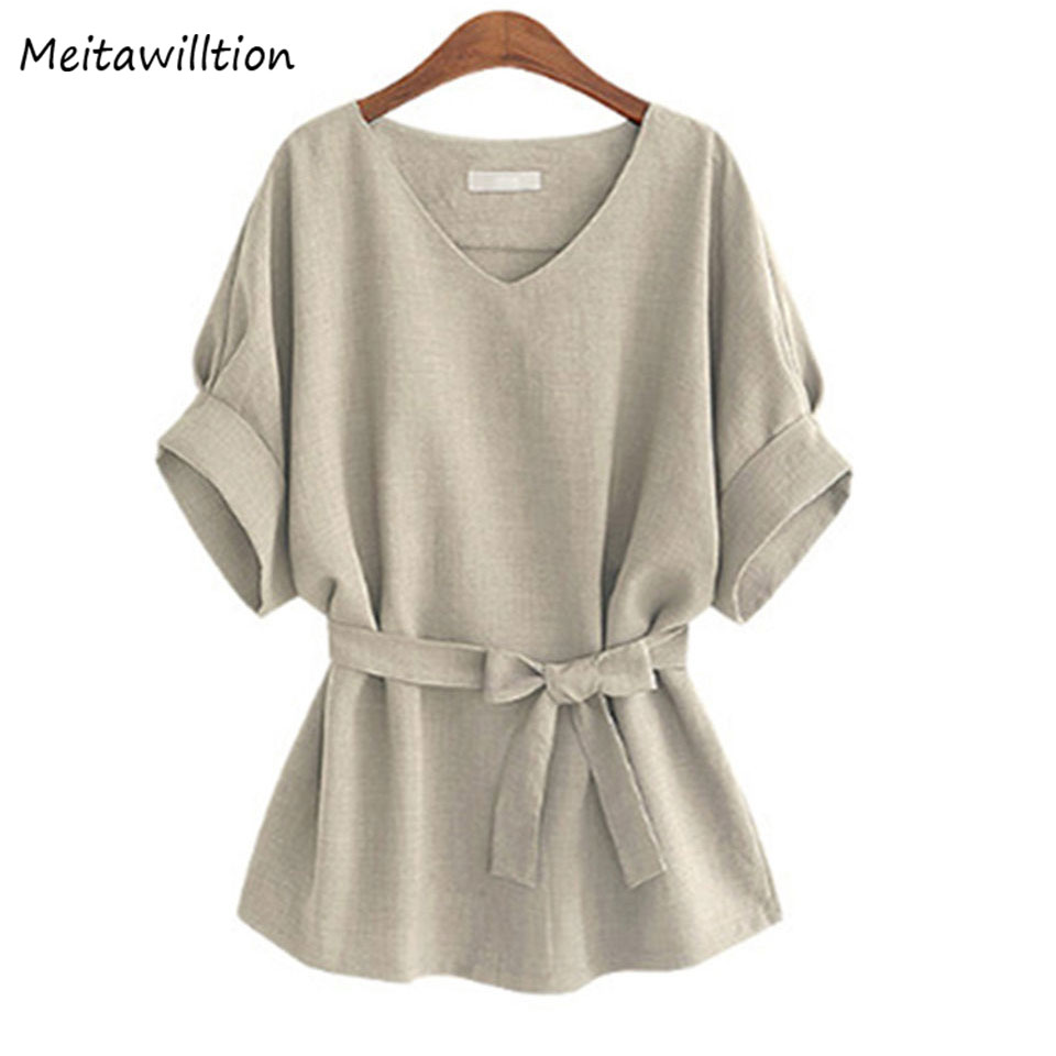2018 New Plus Size Tops Ladies   Blouse     Shirts   Linen Tunic Women V Neck Big Bow Summer Top Short Sleeve Loose Female Top Women 5XL