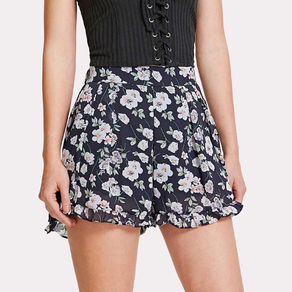 Womail Women Shorts New Fashion Floral Print Frill Shorts Chiffon Wide Leg Shorts Loose De Deporte De Cintura Alta Dropship J22