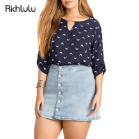 RichLuLu 2017 Plus Size Vrouwen Zomer Mode Animal Print Casual Tops Big Grote Maat Chiffon Blouse Shirt 3XL 4XL 5XL 6XL