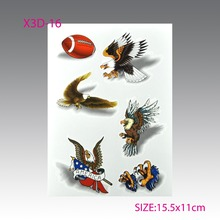 3D Colorful Waterproof Temporary Tatoo Sticker Temporary Tatto DIY Tattoo Art Animal Tattos Body Art Tattoos Eagle