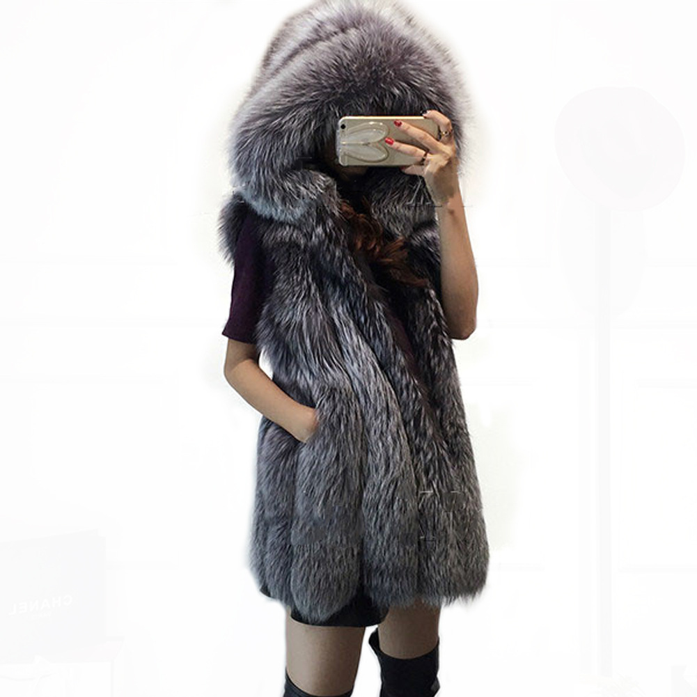 new fashion faux silver fox mink fur vest with hooded. Black Bedroom Furniture Sets. Home Design Ideas