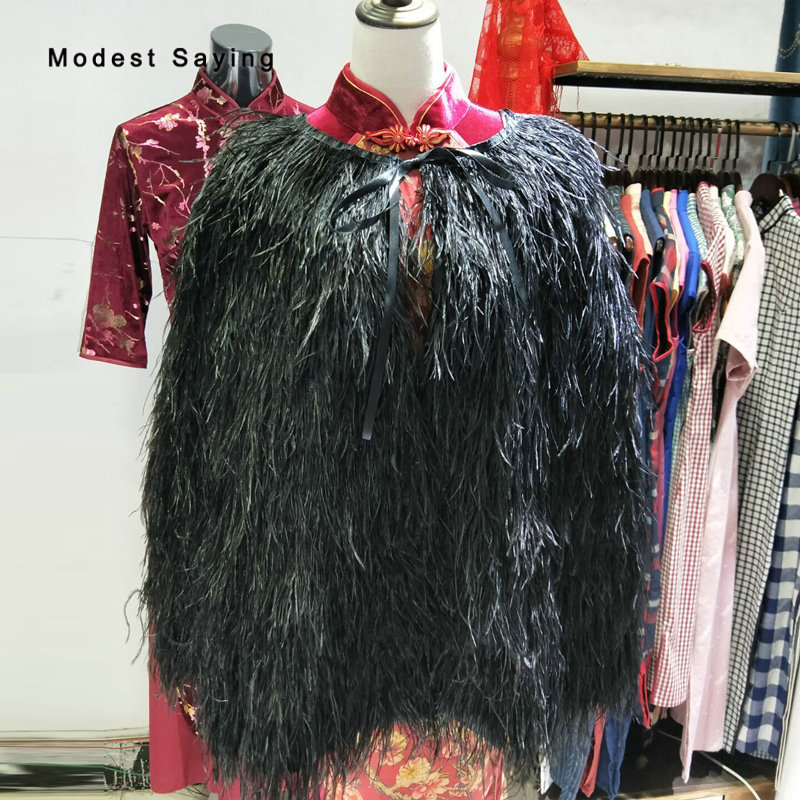 Luxury 75cm Black Ostrich Feather Wedding Fur Boleros Cape 2018 Hip Length Bridal Jackets For Evening Dress Wedding Accessories