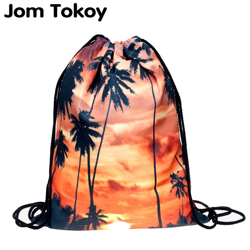 2019 Fashion Escolar Backpack 3D Printing Bags Softback Man Women Mochila Feminina  Sunset Palm Drawstring Bag Mens Backpacks