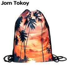 2019 mode escolar rucksack 3D druck taschen softback mann frauen mochila feminina sunset palm kordelzug herren rucksäcke