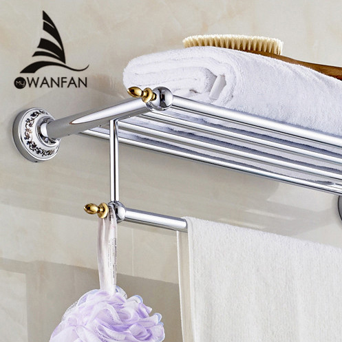 Bathroom Shelves Metal Chrome Silver Wall Bath Shelf Holder For Towel  Hanger Towel Rail Bathroom Accessories
