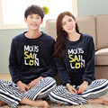 2017 New Pajamas Flannel Suits Simple Letter Male Female Couples Pajamas Siamese Spring Family Fitted Casual Pajamas Sets
