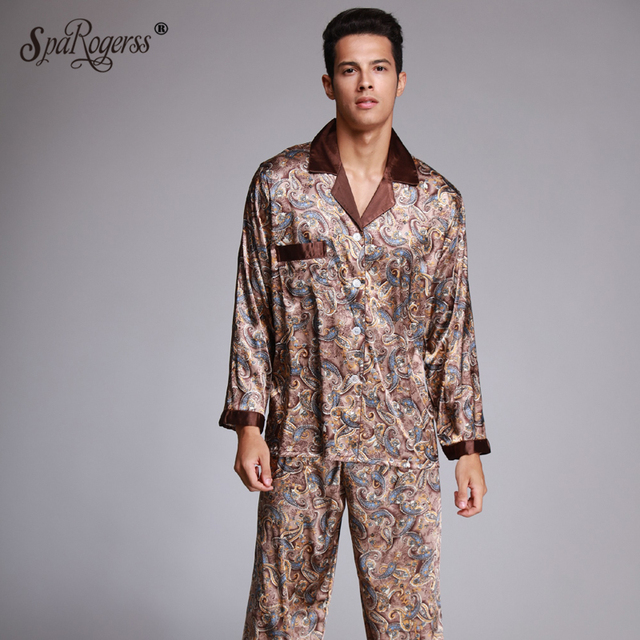 8162bead444 Fashion Men s Pajamas Sets Autumn New Faxu Silk Sleepwear Cozy Home Sleep  Clothing Long Pants 2 Pcs High Quality Nightwear TZ073