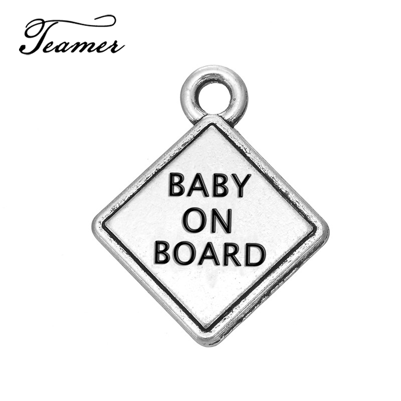 Charms Jewelry Sets & More Teamer 10pcs/lot Alloy Antique Silver Color Letter Baby On Board Custom Engraved Charms Mini Pendants Accessories For Bracelets