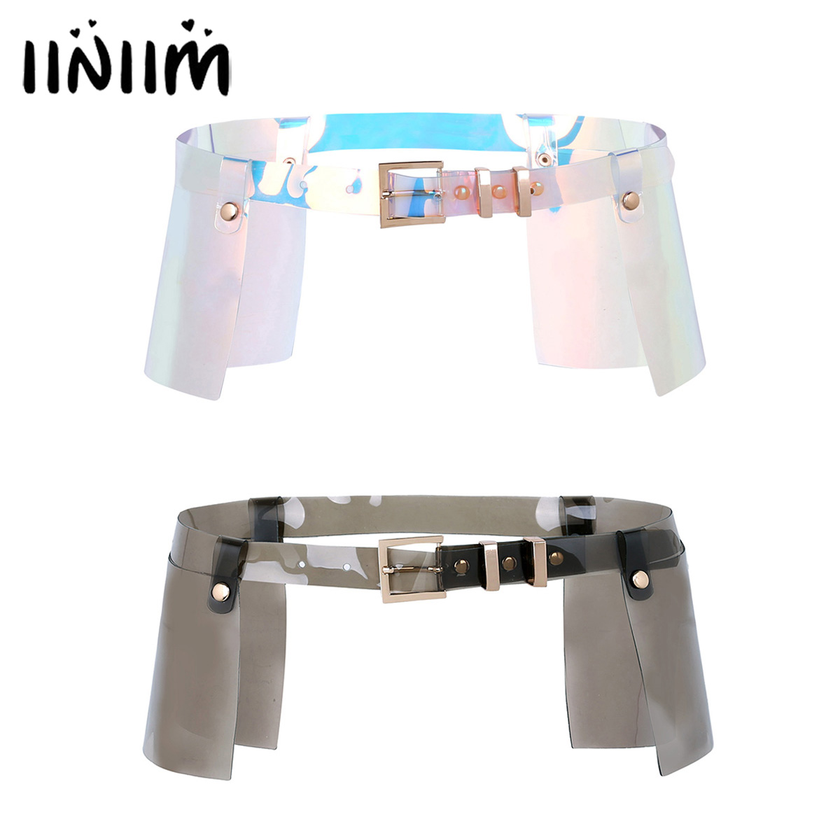 Women Fashion Punk Shiny Clear PVC Adjustable Body Waist Belts Skirt Roleplay Costume Clubwear Performance Clothing Accessories
