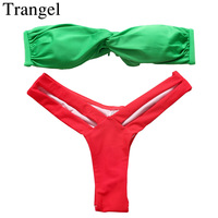 Bikini Set Swimsuit Cut Out Swimwear Triangle Bathing Suit Twist Bandeau Buckle Thong Bikini 2015 Swim