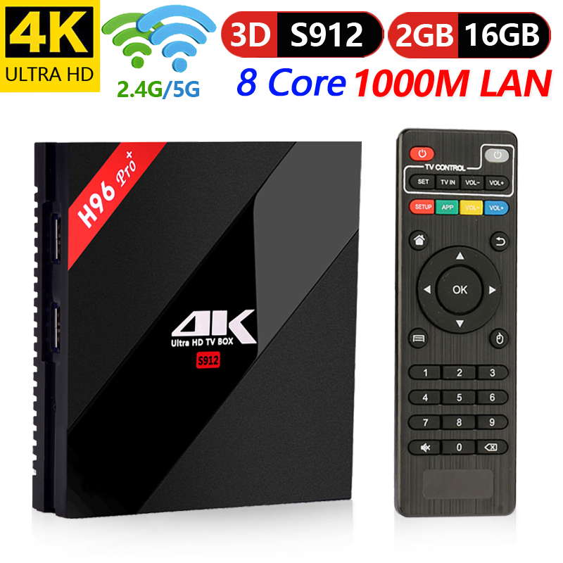 H96 Pro Plus Amlogic S912 Android 7.1 Box TV inteligente ROM 2G RAM 16G 2.4g/5g WiFi 4 K Ultra HD décodeur lecteur prise en charge 3D