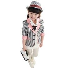 Коллекция года, приталенные блейзеры для маленьких девочек топы для девочек-подростков, полосатый осенний Модный китайский Повседневный Блейзер, куртка для детей возрастом от 3 до 12 лет