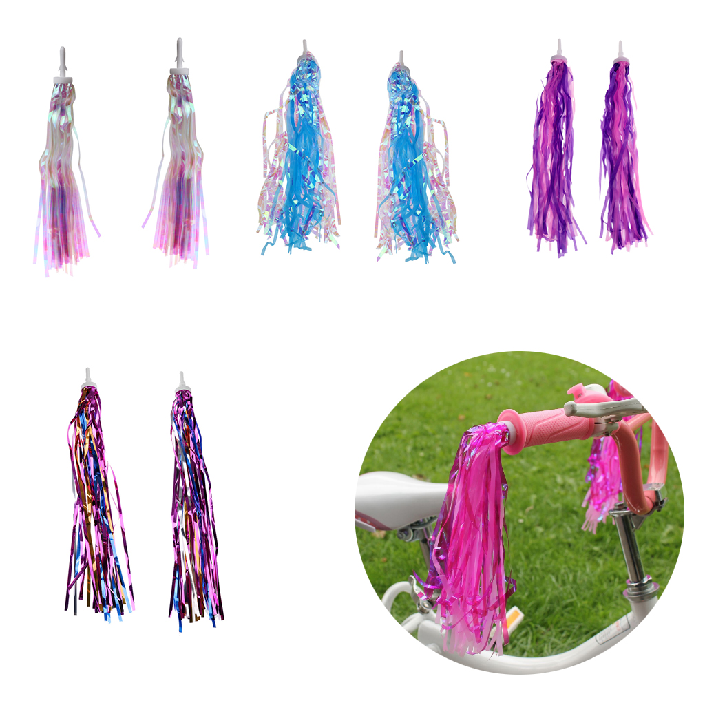 Bicycle Bike Ribbon Tassel Streamers Pom Pom for Cruisers Grips Red