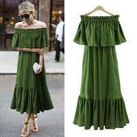 Ordifree 2017 Women Ruffle Long Maxi Dress Summer Sundress Swing Party Dresses Sexy Off Shoulder Stretch