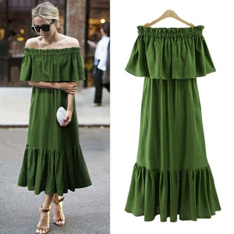 Ordifree 2019 Әйелдер Ruffle Long Maxi көйлек Жаз Sundress Swing партиясының көйлек Sexy Off Shoulder Stretch Loose Vintage көйлек