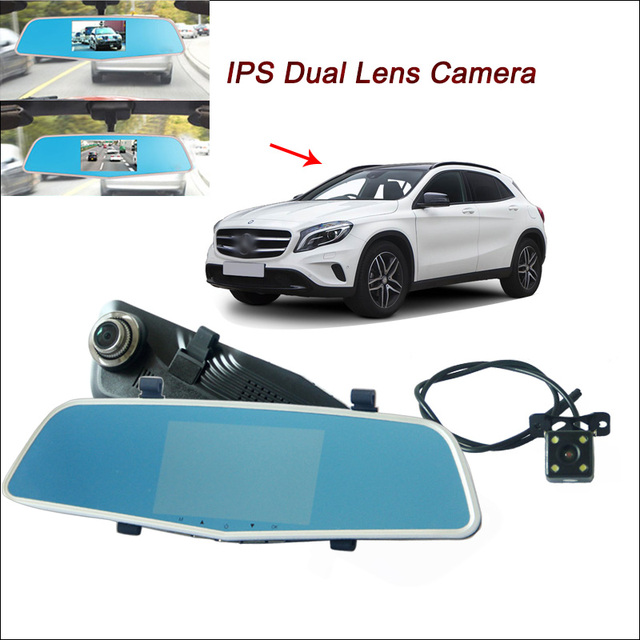 "For Benz gla Car DVR Rearview mirror video recorder Car DVR Dual Camera 1080P Novatek 96655 WDR 5"" IPS Screen Car Black box"
