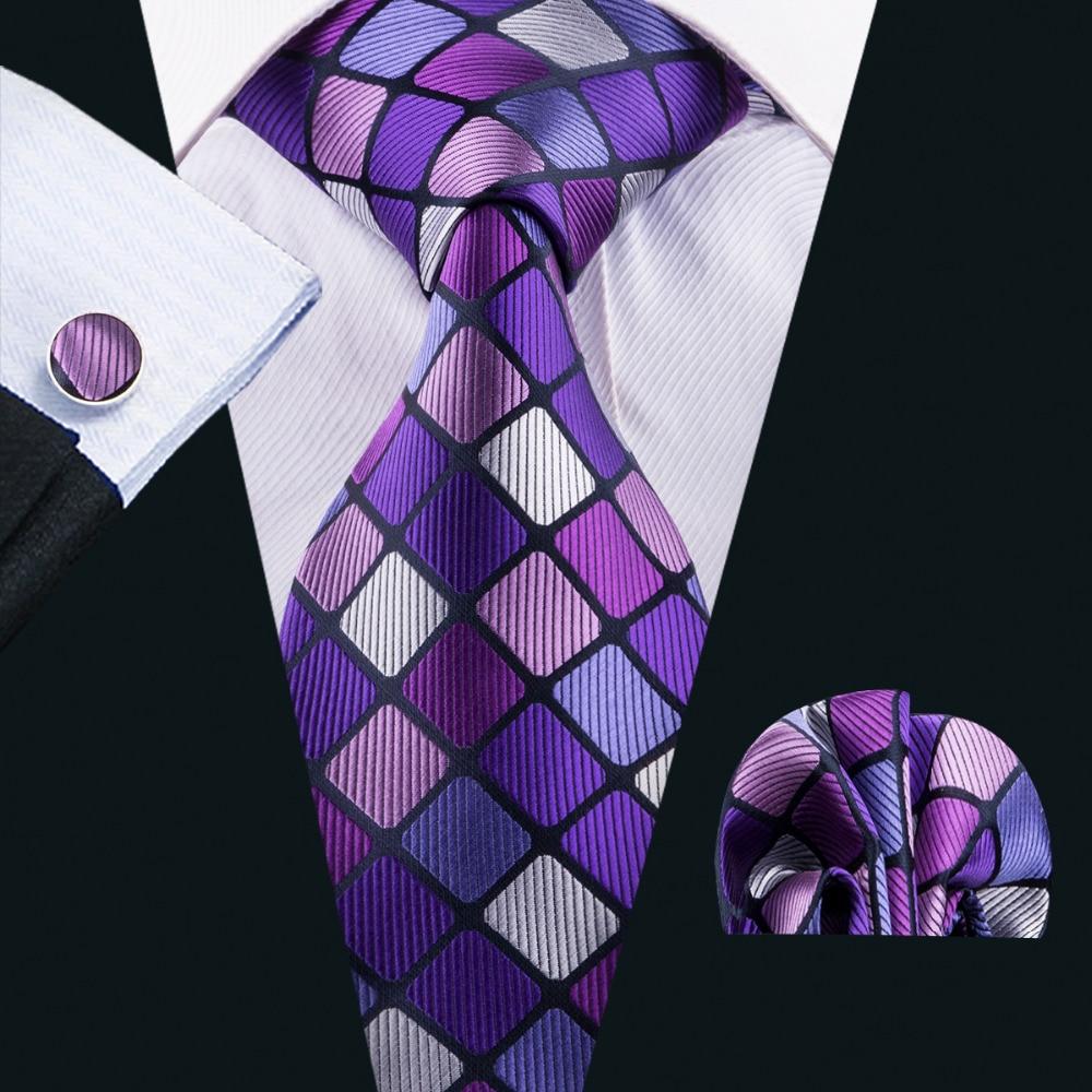 LS-1579 Barry.Wang 2017 Men`s Tie 100% Silk Jacquard Woven Necktie Hanky Cufflin