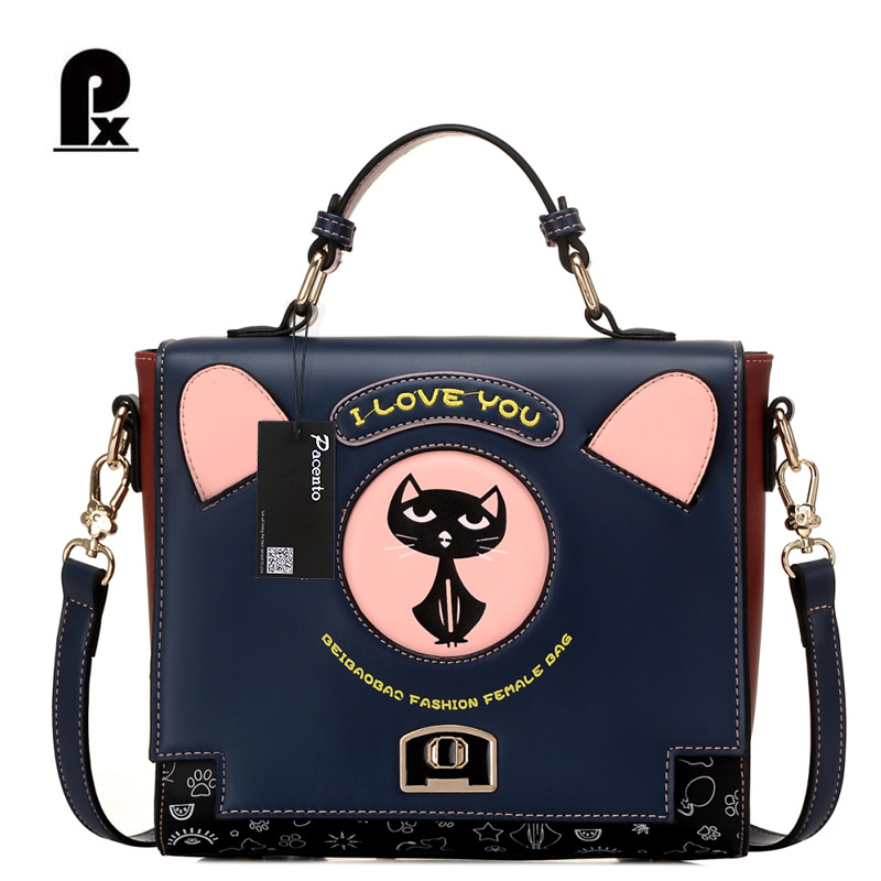 Carteras De Marcas Famosas 2017 Black  Small Shoulder Bag Ladies Cute Cat PU Leather Handbag Girls Messenger Crossbody Canta Px women fashion rivet punk style handbag ladies grace elegant luxury messenger bag bolsas de marcas famosas feminina cymakaxa1004d