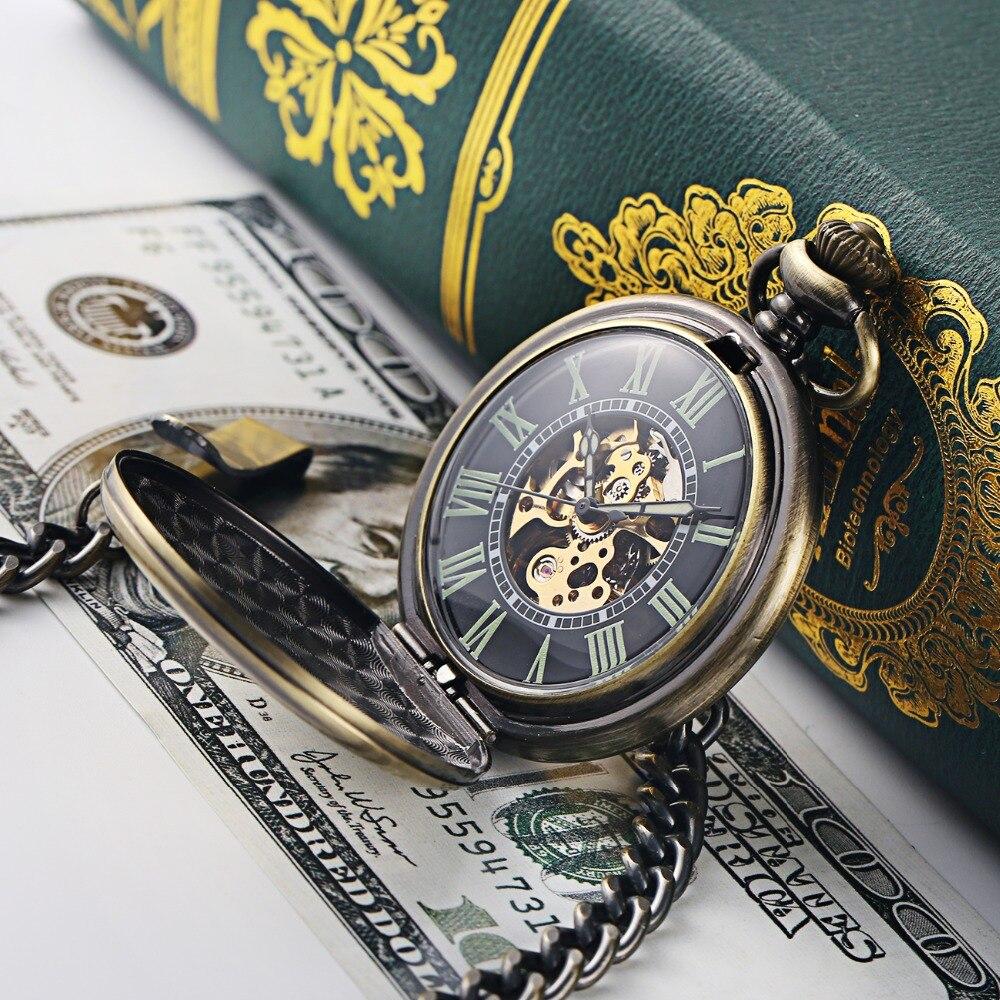 Steampunk Mechanical Pocket Watch Men Retro Pendant Watch Chain Vintage Necklace Mechanical Hand Wind Clock Pocket Watch Gifts 26