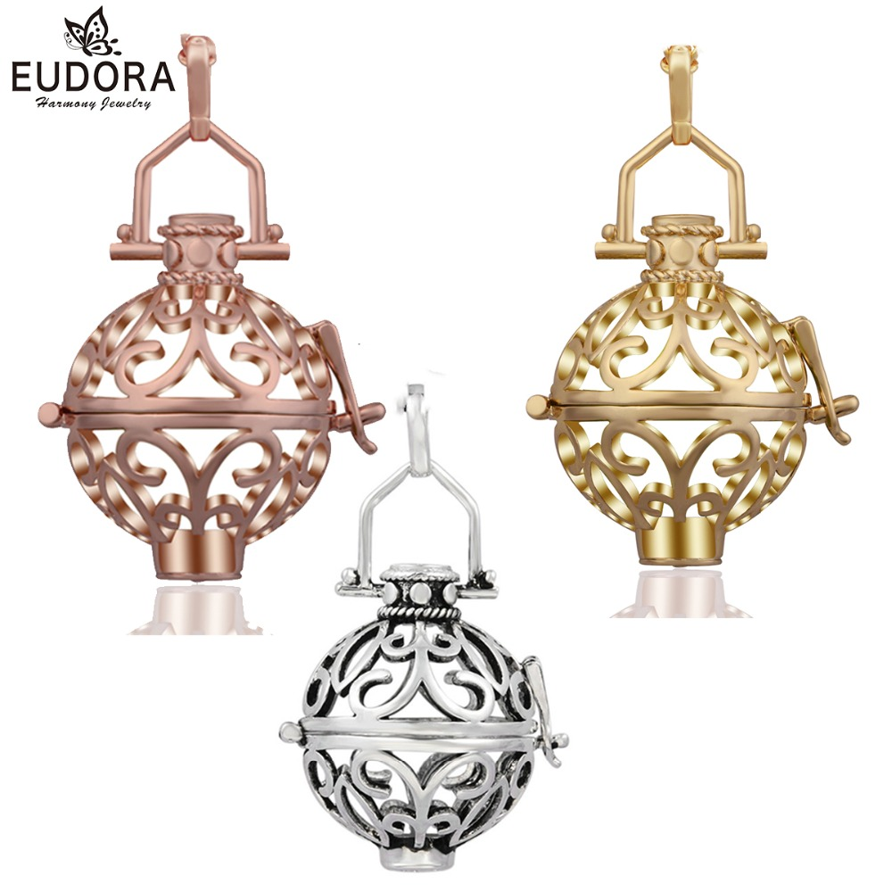 Angel Caller Wholesale 10pcs/lot 20mm Harmony Bola Necklace for Chime Ball Copper Metal Locket Cage Pendant Accessories Jewelry-in Pendants from Jewelry & Accessories    1