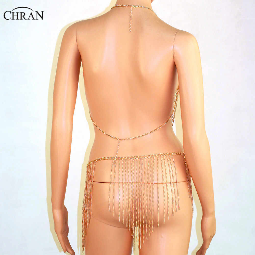 Chran Exotic Bra Raveoutfit Lingerie Tassel Dress Harness Slave Body Chain Skirt Belly Waist EDM Festival Wear Jewelry BCJ204