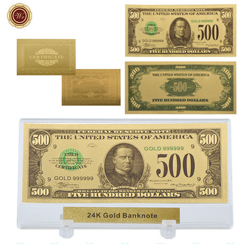 WR Американская Металлическая банкнота, 24k Золотая, цветная, 500 долларов США, поддельные деньги, сувенир, подарки с настольной декоративной по...