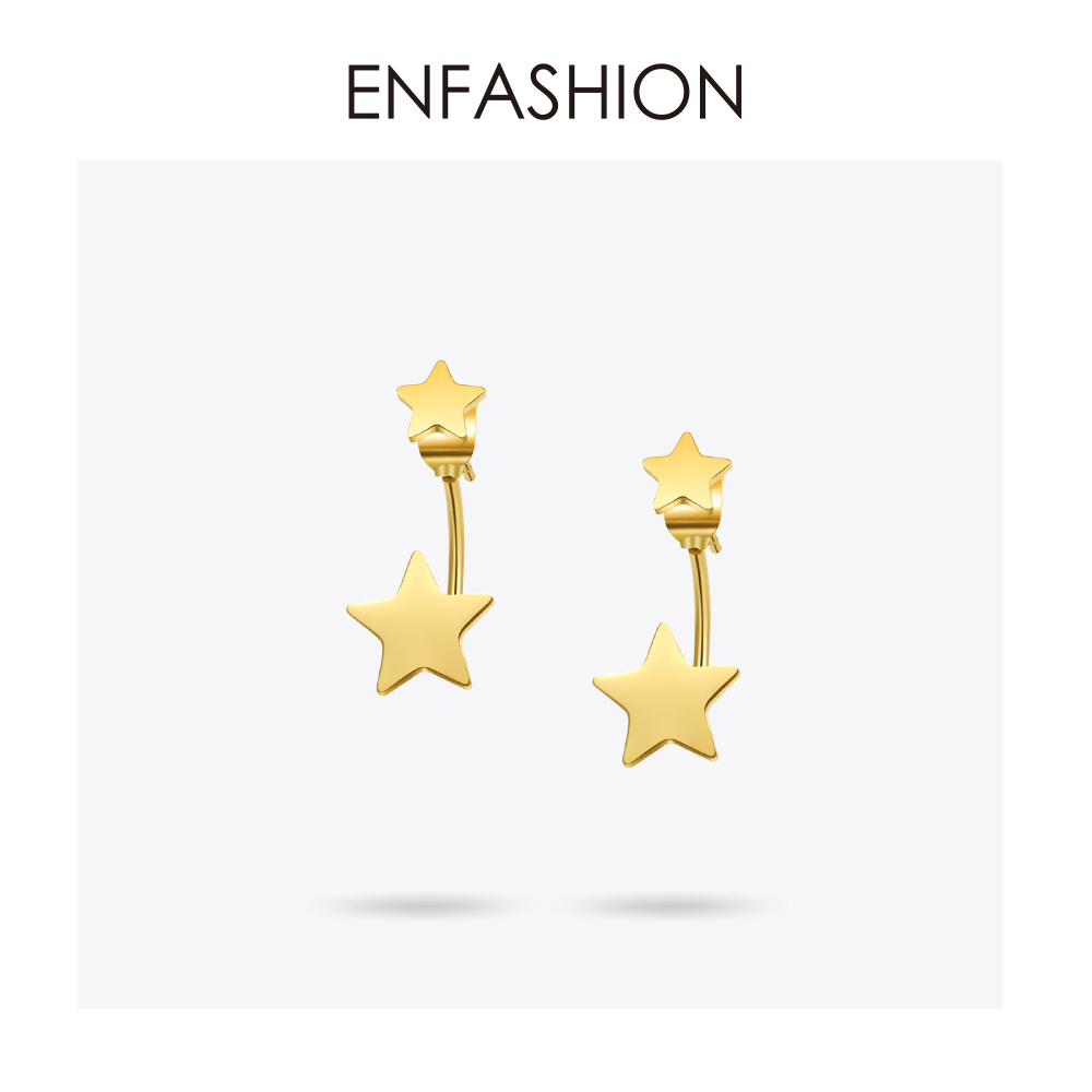 Enfashion Jewelry Double Star Earrings Black Stud Earring Rose Gold Color Earings Stainless Steel Earrings For Women Wholesale