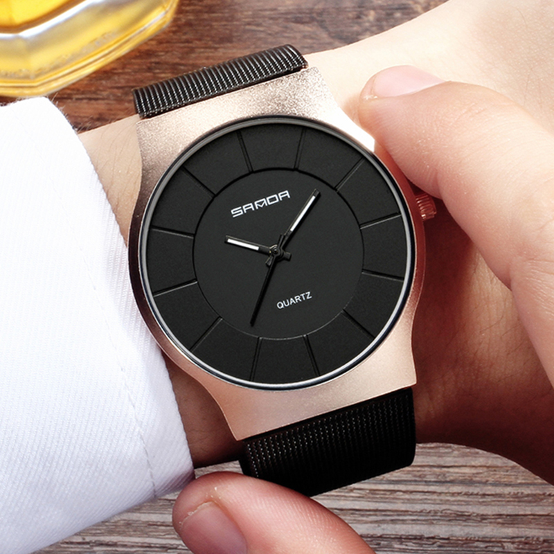 SANDA Men's Simple Watches Men Fashion Casual Ultra Thin Wristwatches Waterproof Rose Gold Black male Clock Relogio Masculino