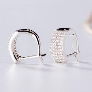 Image 5 - Kuololit Zircon Gemstone Hoop Earrings For Women Solid 925 Sterling Silver Wedding Engagement Band Earrings Fine Fashion Jewelry