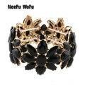 NeeFuWoFu Rhinestone Bracelet Glass States Exaggerated Bracelets Geometric Bracelet Luxury Charm Metal Christmas Jewelry