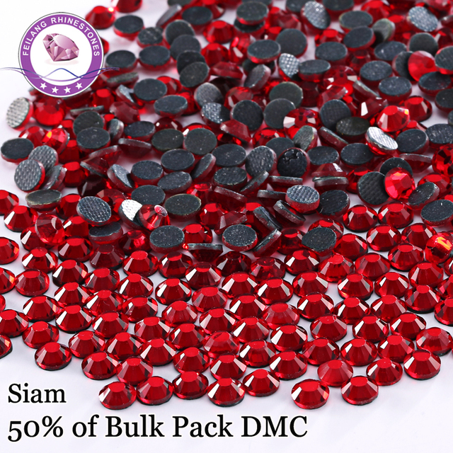 SS6 - SS30 Siam High Quality DMC Red Hotfix Rhinestones For Clothing Accessories DIY Decoration Iron On Flatback Crystal