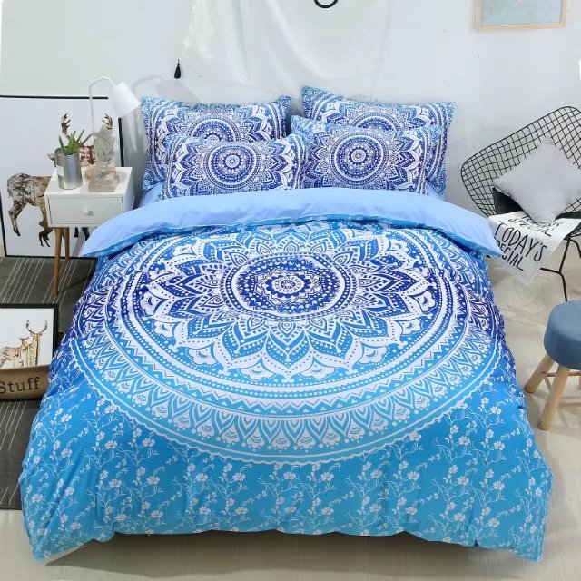 US 19 OFF Bohemian Mandala Flower Bedspreads Twin Queen King Full Size Blue Comforter Duvet Cover 3 4pc Womans Gift 3d Vivid Bedding Sets In