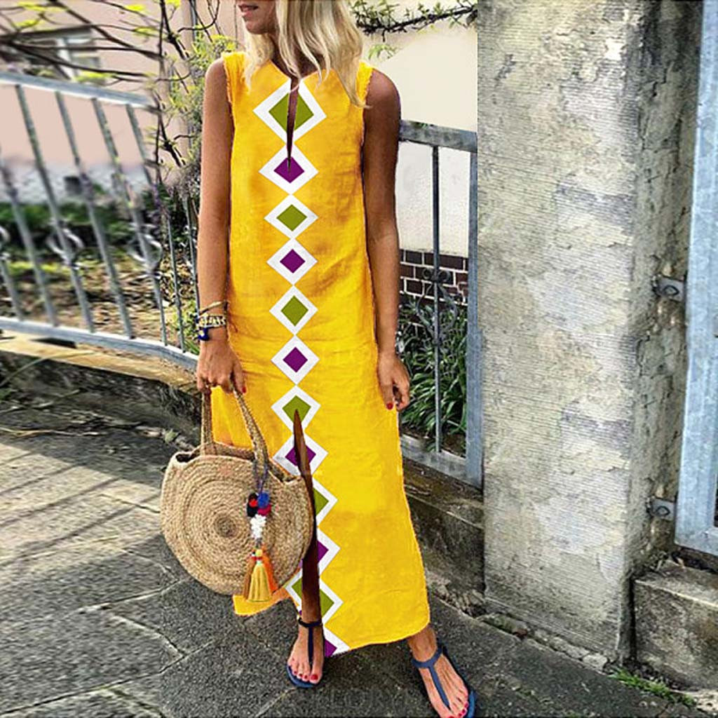 Beach Dress Women's Printed Sleeveless V-neck Maxi Dress Split Hem Baggy Kaftan Long Dress Спідниця на пляжі Jupe De Plage